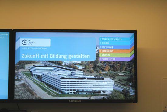 Infoscreens FH Campus Wien (Leit- und Informationssystem)